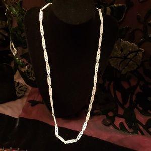 Vintage white enameled Trifari necklace